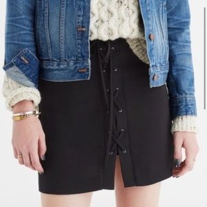 Madewell Tie Up Lace Front Mini Skirt